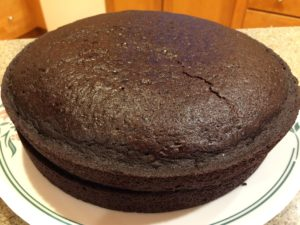 Picture of chocolate cake made from King Arthur Gluten-Free chocolate cake mix.