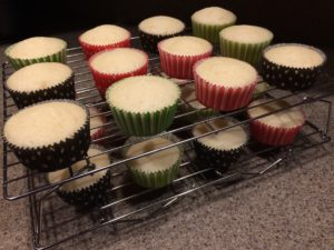 Picture of allergy-friendly yellow cake cupcakes made with King Arthur Gluten-Free yellow cake mix.